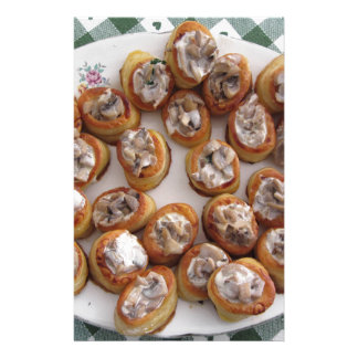 Vol au vents filled with chopped mushrooms personalised stationery