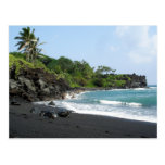 Volcanic black sand beach on Hawaii postcard