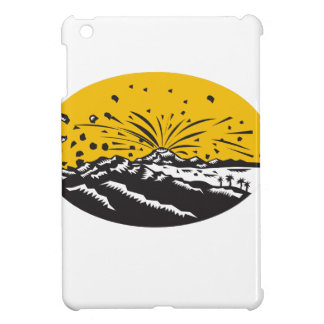 Volcanic Eruption Island Formation Oval Woodcut iPad Mini Cases