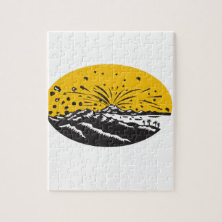 Volcanic Eruption Island Formation Oval Woodcut Jigsaw Puzzle