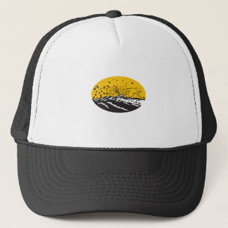 Volcanic Eruption Island Formation Oval Woodcut Trucker Hat