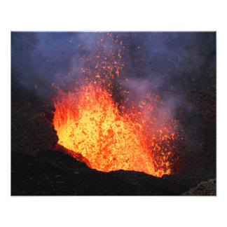 Volcanic landscape - hot lava eruption from crater photo print