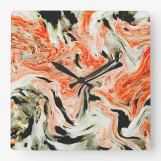 Volcanic Swirl Square Wall Clock