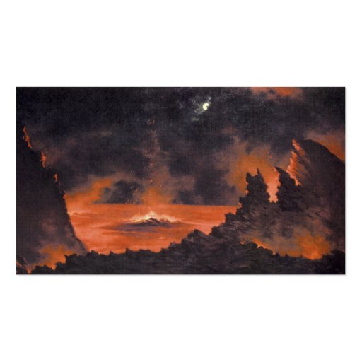 Volcano at Night, ca. 1880s Hawaii Business Card Templates