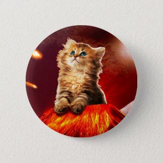 volcano cat ,vulcan cat , 6 cm round badge