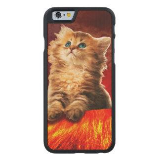 volcano cat ,vulcan cat , carved maple iPhone 6 case