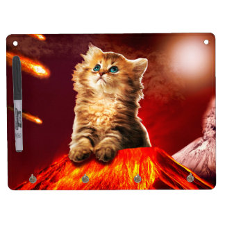 volcano cat ,vulcan cat , dry erase board with key ring holder