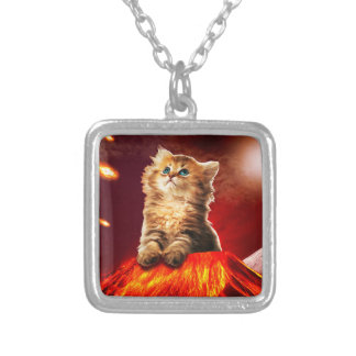 volcano cat ,vulcan cat , silver plated necklace