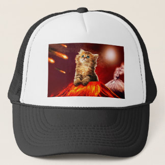 volcano cat ,vulcan cat , trucker hat