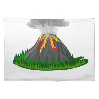 volcano eruption and fire placemat