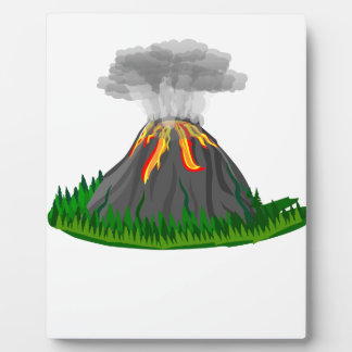 volcano eruption and fire plaque