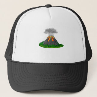volcano eruption and fire trucker hat