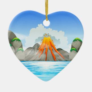 Volcano eruption at the lake ceramic ornament