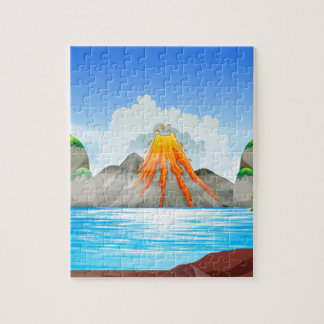 Volcano eruption at the lake puzzles