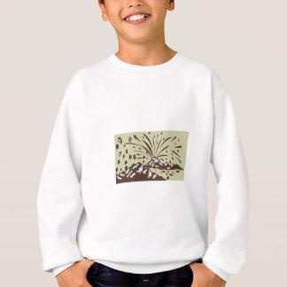 Volcano Eruption Island Woodcut Sweatshirt