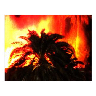 Volcano Eruption Watercolor Postcard