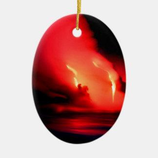 Volcano Fire And Ice Kona Hawaii Ceramic Ornament