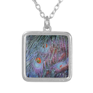 volcano orange peacock feathers silver plated necklace