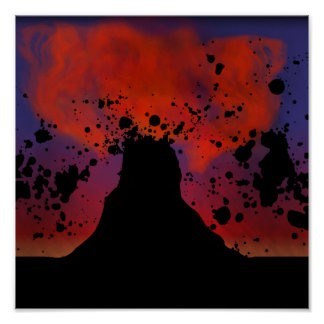 Volcano Silhouette Poster