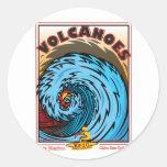 VOLCANOES BAJA MEXICO SURFING ROUND STICKER