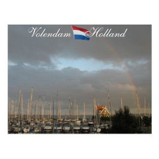 Volendam Harbor Holland Postcard