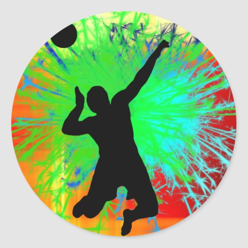 Volley Ball Service Fireworks Stickers