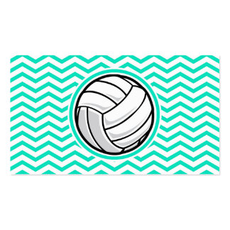 Volleyball Aqua Green Chevron Business Cards