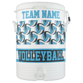 Volleyball | Baby Blue and White | DIY Text Cooler
