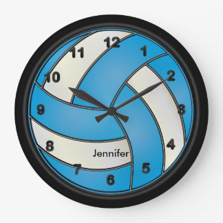 Volleyball | Baby Blue and White Style Large Clock