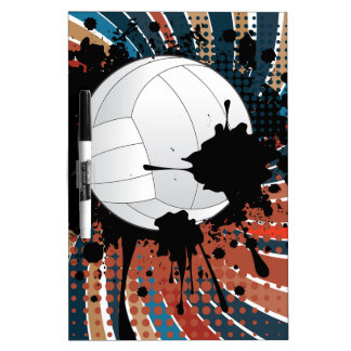 Volleyball Ball on Rays Background Dry Erase Whiteboards