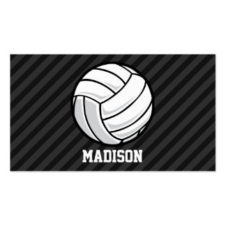 Volleyball; Black & Dark Gray Stripes Double-Sided Standard Business Cards (Pack Of 100)