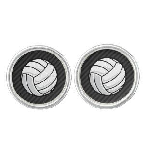 Volleyball Black Dark Gray Stripes Cufflinks