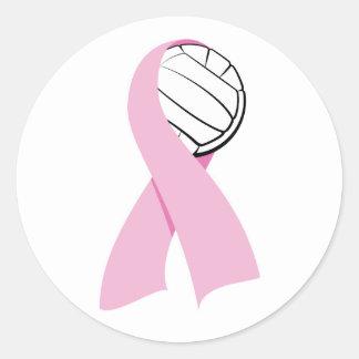 Volleyball Breast Cancer Classic Round Sticker