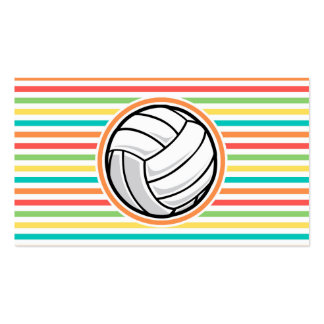 Volleyball Bright Rainbow Stripes Business Card