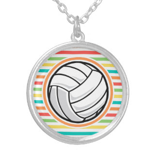 Volleyball Bright Rainbow Stripes Pendants