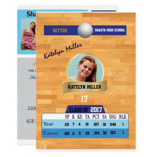 Volleyball Card W/ Stats Grad Invitations - blue