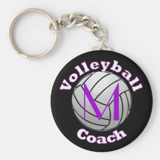 Volleyball Coach with Purple Initial Key Ring