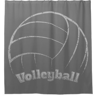 Volleyball Curved Grunge Shower Curtain