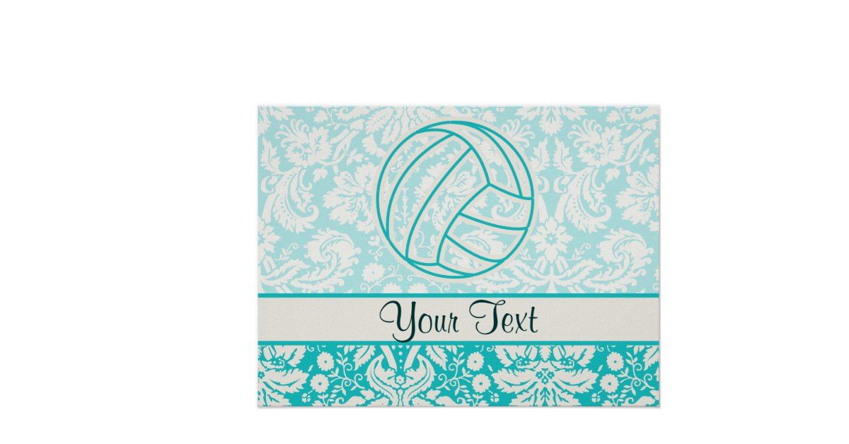 Cute Volleyball Posters Volleyball Cute Teal Posters