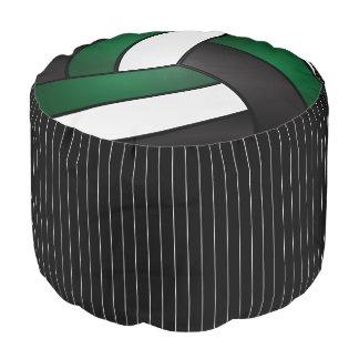 Volleyball Dark Green, Black & White Sport Pattern Pouf