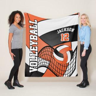 Volleyball Design - Orange, White, Black Fleece Blanket