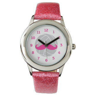 Volleyball glitter pink mustache volleyball watch