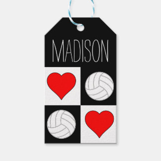 Volleyball Hearts Checker Pattern Custom Gift Tag