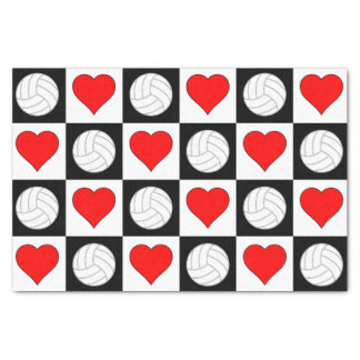 Volleyball Hearts Love Gift Wrapping Tissue Paper