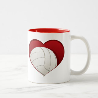 Volleyball in Heart Two-tone Mug