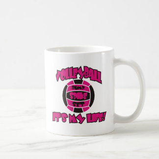 VOLLEYBALL IN HOT PINK AND BLACK BASIC WHITE MUG