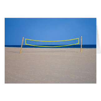 Volleyball Net, Empty Beach - Blank Greeting Card