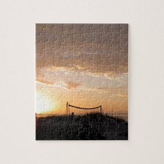 Volleyball Net Sunset Beach Jigsaw Puzzle