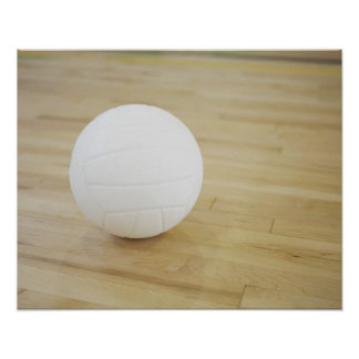 Volleyball on wooden floor poster