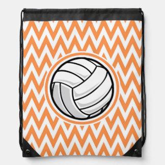 Volleyball; Orange and White Chevron Drawstring Bag
